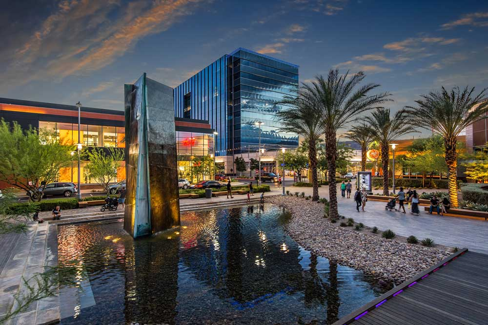 Night time shot of Downtown Summerlin in west Las Vegas.